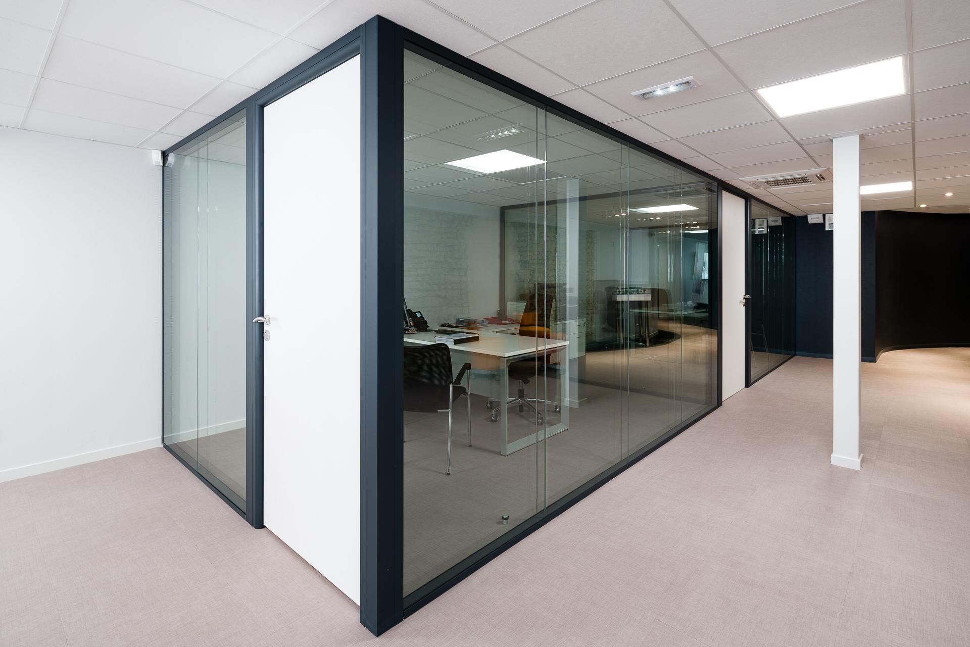 Cloison amovible vitrée de bureau open space isolation phonique