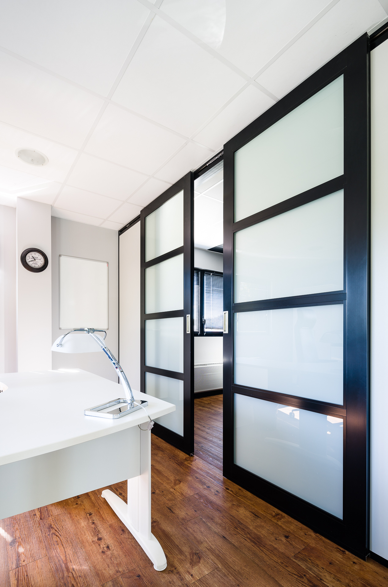 Portes pour cloisons amovibles en bois verre aluminium Porte coulissante cloison